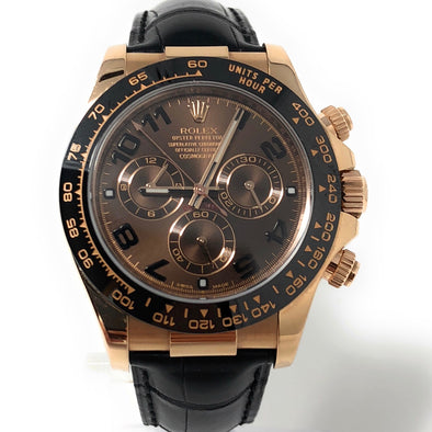 ROLEX DAYTONA ROSE GOLD CHOCOLATE DIAL 116515 LNBR - The Jewels of Beverly Hills