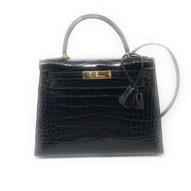 Hermes Kelly 32CM Black Croc - The Jewels of Beverly Hills