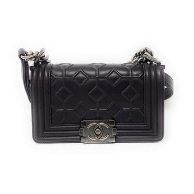 Chanel Small Boy Bag Embossed Eggplant - The Jewels of Beverly Hills