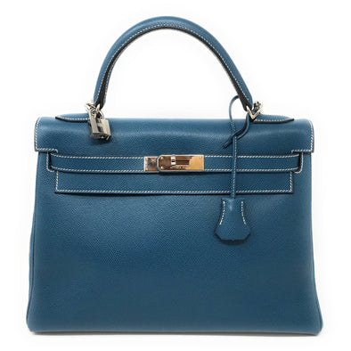 Hermes Kelly 35CM Navy Blue - The Jewels of Beverly Hills