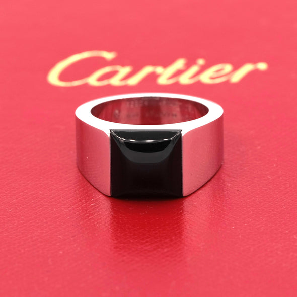 Cartier 18k White Gold Tank Black Onyx Unisex Size 10.25 Eu 62 Ring
