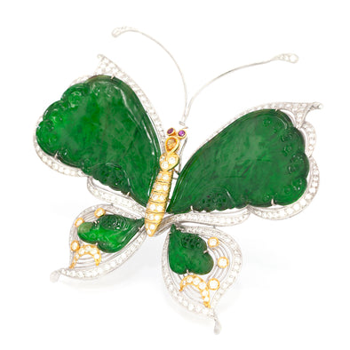 18 Karat Gold Butterfly Jadeite Jade Brooch or Pin with Diamonds