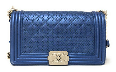 Chanel Medium Blue Boy Bag - The Jewels of Beverly Hills