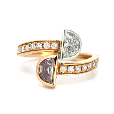 GIA Certified 0.44 Carat Fancy Brownish Purple Pink and 0.43 Carat White Diamond Ring