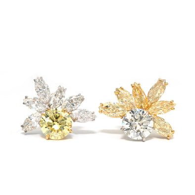 18 Karat Gold Earrings With 9.13 Carats of White and Yellow Diamonds