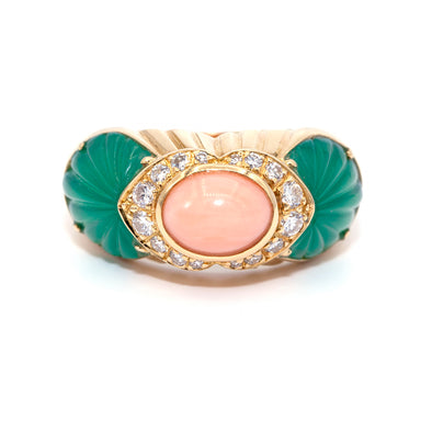 Vintage Cartier Coral Chrysophrase Diamond Gold Ring