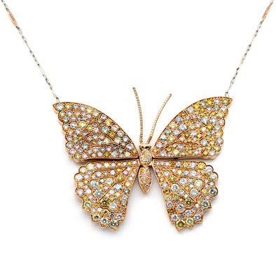 18 Karat Butterfly Natural Color Diamonds Necklace