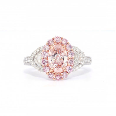 GIA Certified 1.04 Oval Light Pink Natural Diamond Ring