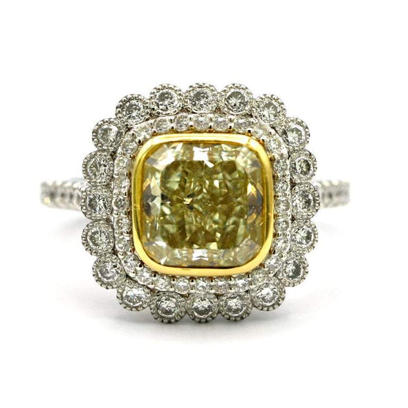 3.01 Carat Yellow Diamond Platinum and 18 Karat Gold Ring