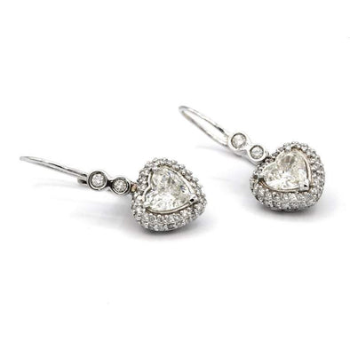 1.74 Carat Heart Shaped White Diamond Earrings in 14 Karat White Gold