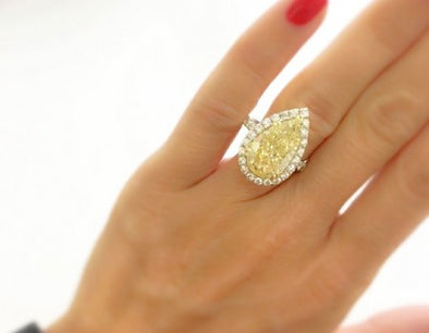 Fancy Yellow Pear Cut Diamond Ring - The Jewels of Beverly Hills