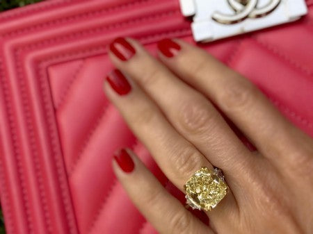 Fancy Yellow Cushion Cut Diamond Ring - The Jewels of Beverly Hills