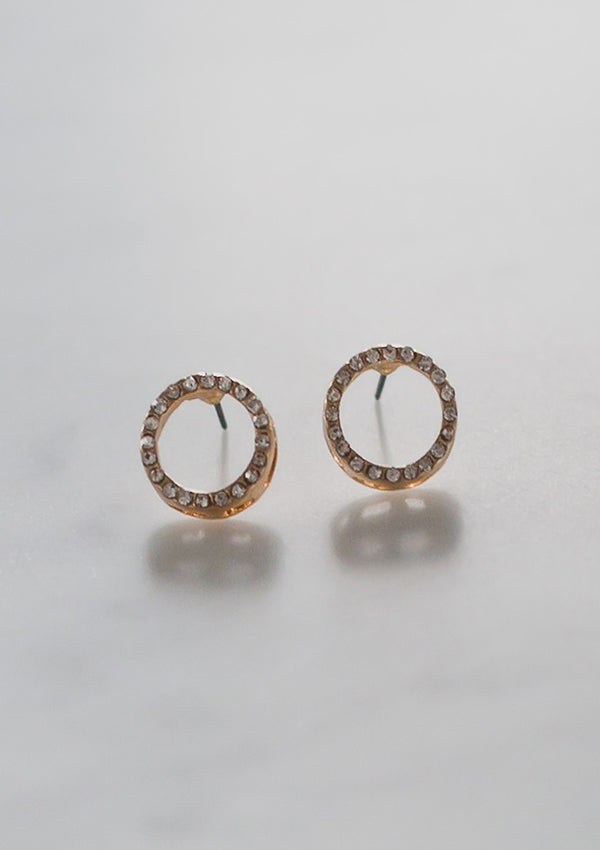 Rhinestone Ring Stud Earrings
