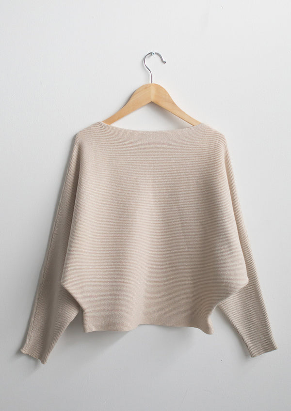 Draped Metallic Sweater