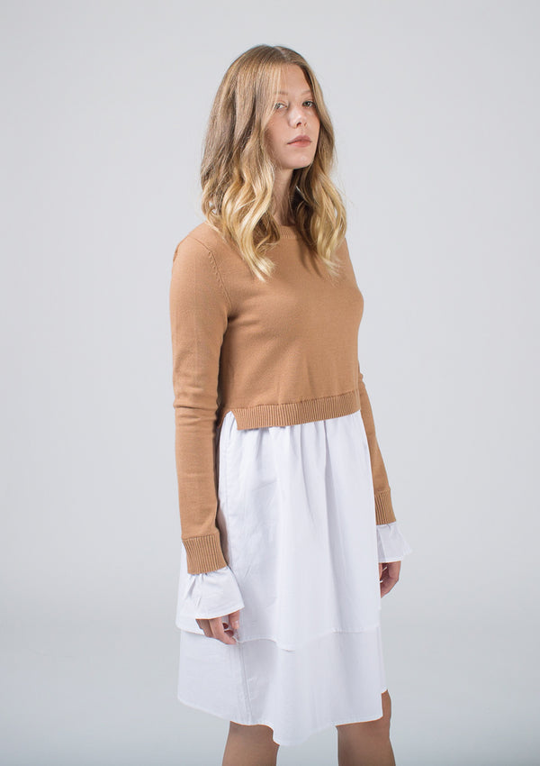 Sweater + Poplin Dress