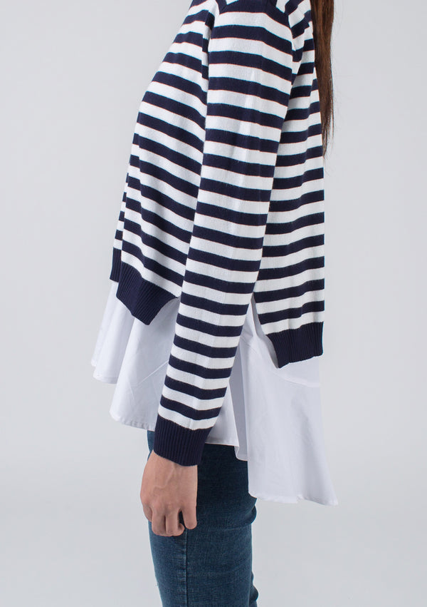 Stripe Sweater + Poplin Top