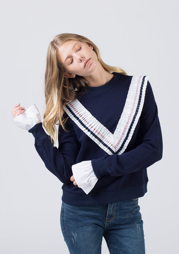 Knit + Poplin Sweatshirt