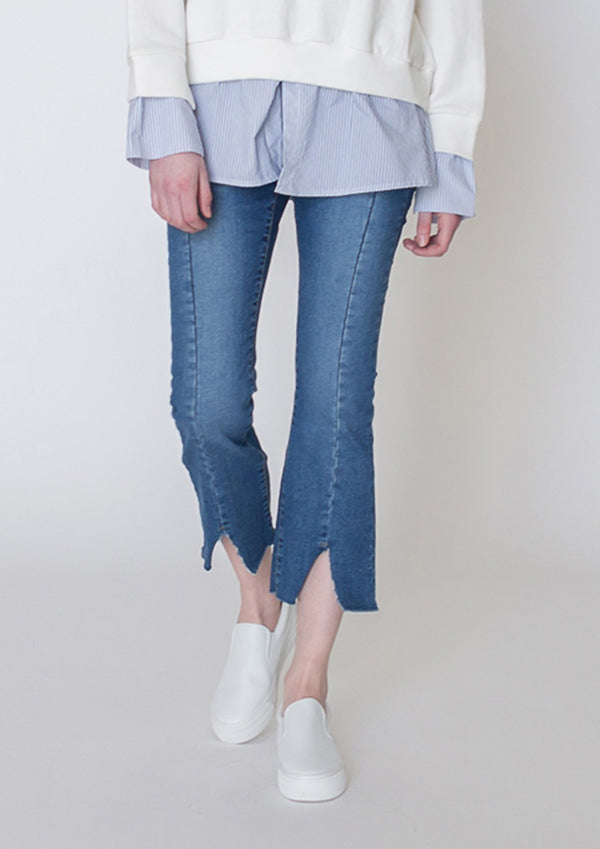 Slit Front Bootcut Jeans