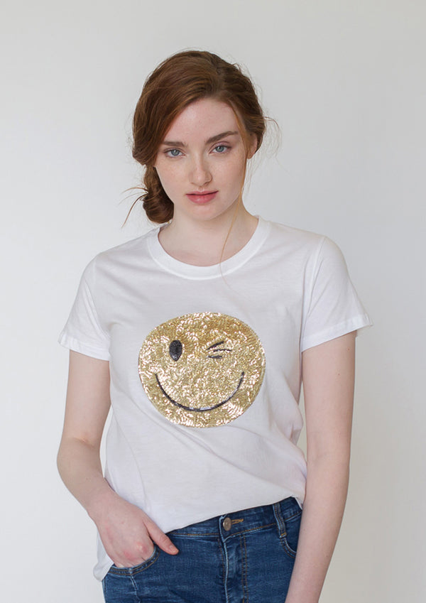 Smiley Sequin T-Shirt