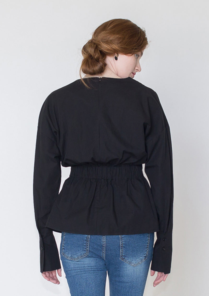 Pleated Poplin Blouse