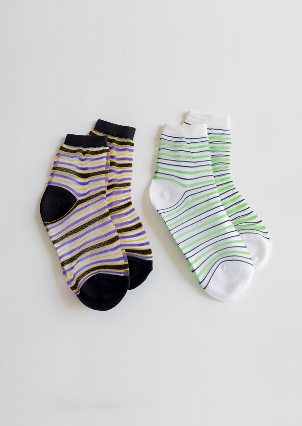 Multi Stripe Sheer Socks