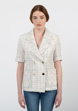 Short Sleeve Tweed Jacket