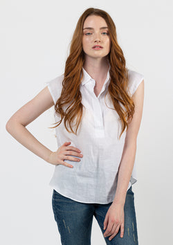 Cap Sleeve Linen Shirt