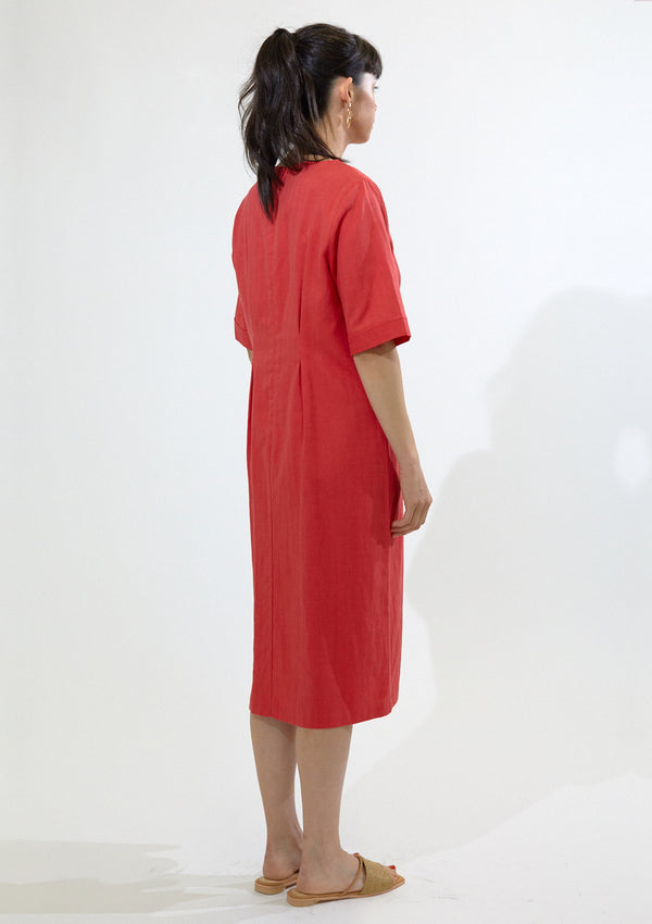 Pin Tuck Linen Dress