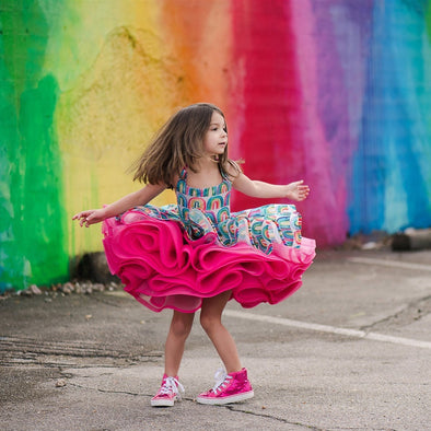 Traveling Rental Dress Project: Pink Rainbow: Size 7, fits sizes 4-9