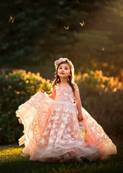 The Traveling Dress Project: The Sophie Butterfly Gown in Blush: Size 5, fits sizes 4-6