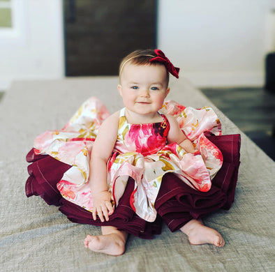 The Traveling Dress Project: Itty Bitty Pink Blooms: Fits sizes 3 months to 2T