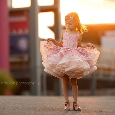 The Traveling Dress Project: The Emersyn Butterfly Gown in Rose Gold: Size 6 Shortie, fits sizes 3-8