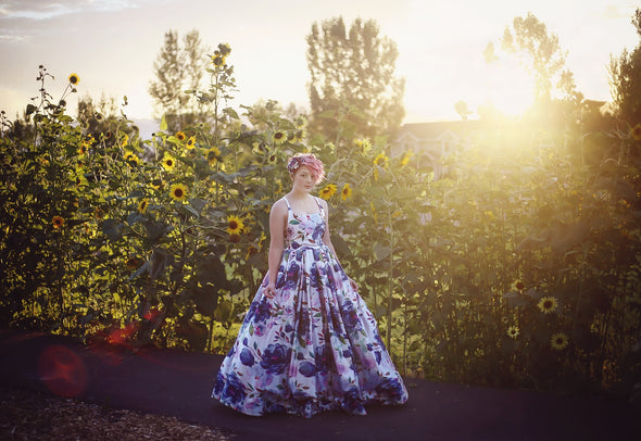 The Traveling Dress Project: Midnight Blooms: Size 14, fits sizes 8-14, NO POOF