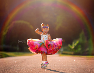 The Traveling Dress Project: The Rainbow Love Gown: Size 6 shortie, fits sizes 4-petite 8