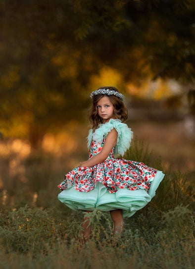The Traveling Dress Project: Floral Berries Shortie Gown: Size 6, fits sizes 3-8