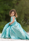 Mermaid Blue Sequin Ball Gown