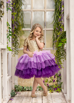 Rent The Cupcake Gown in Purple and Gold - Short Sleeves - Size 7: fits 5-9