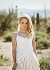 The Paige Dress: Ivory Lace over Champagne