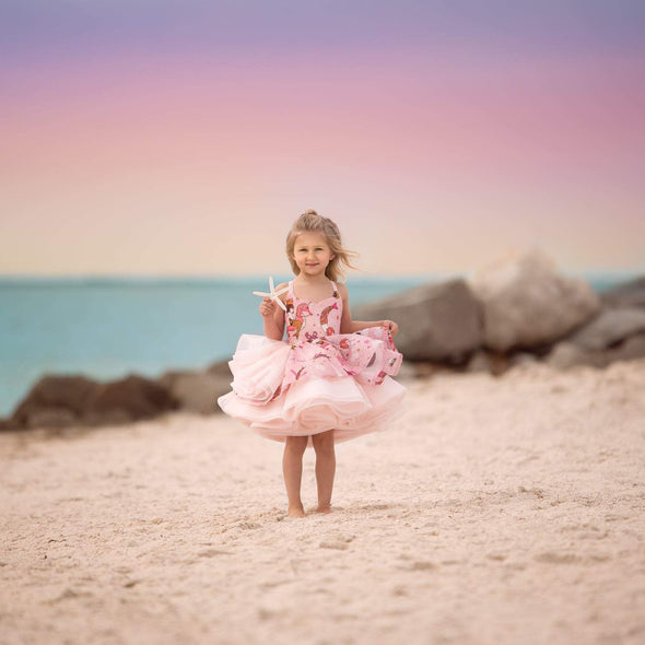 "The Traveling Dress Project: The ""Pink Mermaid"" Gown: Size 3 Shortie, fits sizes 2-slender 5"