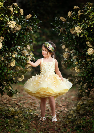 The Traveling Dress Project: The Emersyn Gown: Size 4 Shortie: fits sizes 2-6: Yellow Butterfly Lace