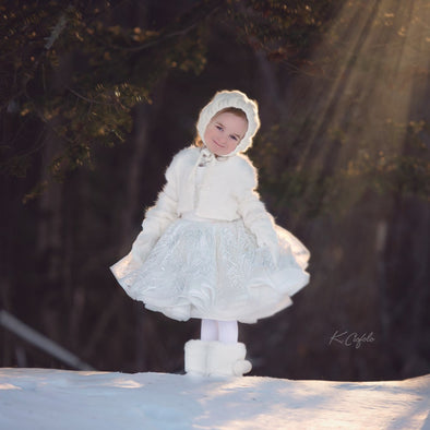 The Traveling Dress Project: The Winter Princess Gown: Size 6 SHORTIE, fits sizes 3-petite 8
