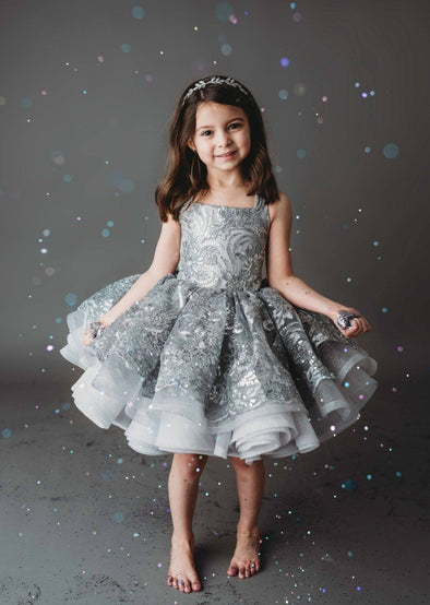 "The Traveling Dress Project: ""Lyra"", Silver Sequin Shortie, size 4/5, fits sizes 3-7"