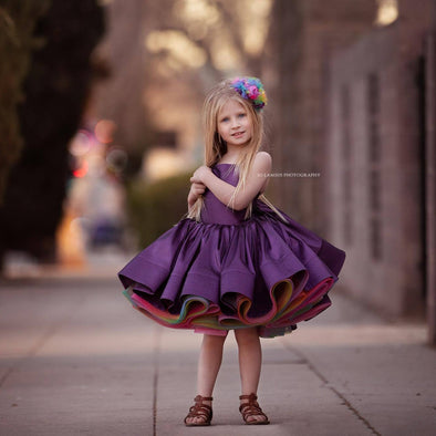 Traveling Rental Dress: Hadley Rainbow: PLUM: Size 6, fits sizes 4-8
