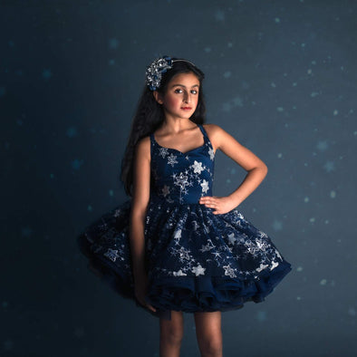 "The Traveling Dress Project: ""Cassiopeia"", Navy and Silver Stars, Shortie: Size 10, fits sizes 7-12"