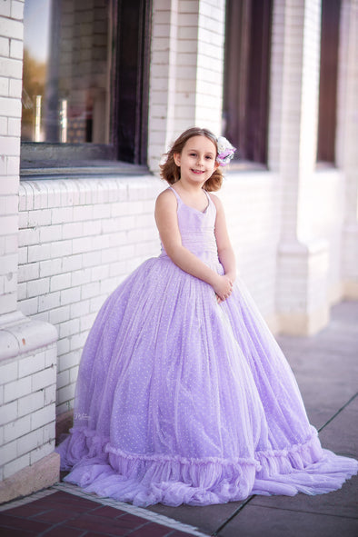 Traveling Rental Dress: The Swiss Dot Gown in Lavender: Size 8/10, fits sizes 7-petite 12