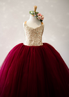 The Ophelia Dress: Gold Sequin Bodice with Burgundy Skirt