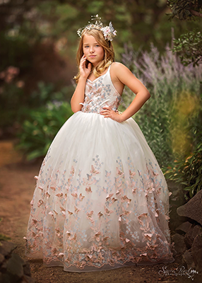 The Mariposa Gown in Springtime - 3D Butterfly Lace