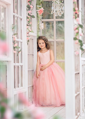 READY to SHIP SALE: The Ophelia Dress: Blush Bodice and Rose Skirt
