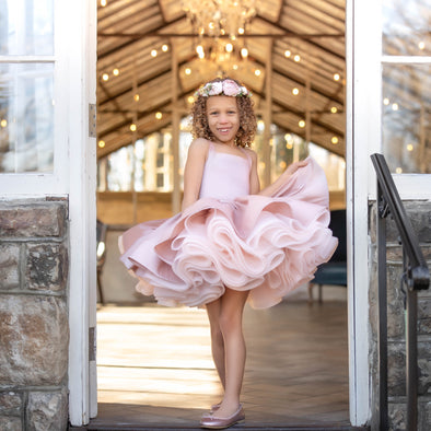 The Traveling Dress Project: The Hadley Shortie Gown in Dusty Blush: Size 8 Shortie: fits sizes 5-10