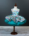 Traveling Rental Dress Project: Teal Rainbow: Size 5, fits sizes 3-7